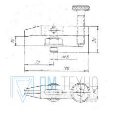 Прижим-качалка  70х 30х 10 с прорезью и резьбовым концом стержня М8 (ДСПМ8-07)